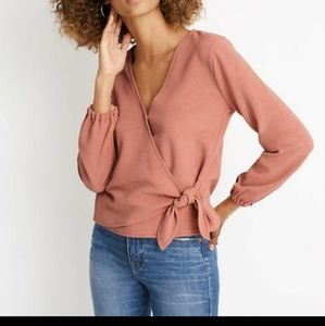 Madewell Texture and Thread knot front wrap top